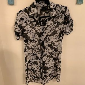 Black and white floral tunic